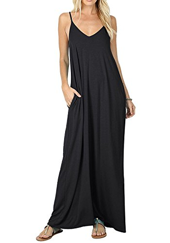 Women's Casual Plain V-Neck Loose Beach Cover-Up Long Maxi Cami Dress Pockets Black