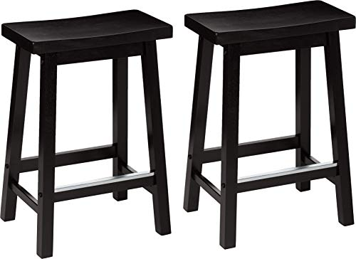 AmazonBasics Classic Solid Wood Saddle-Seat Kitchen Counter Stool with Foot Plate 24 Inch, Black, Set of 2 (Plaid Chair Swivel)