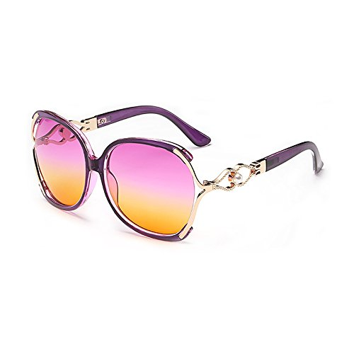 BVAGSS Women's Sunglasses Vintage Oversized Or Modern Glasses WS008 (Purple Frame, Pink Yellow - Sunglasses Modern
