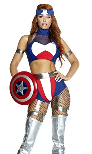 Forplay Women's Super Soldier Sexy Hero Costume, Blue, M/L]()