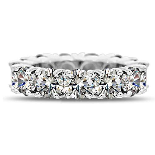 Cubic Zirconia Rhodium Brass Ring - Mia Sarine Round Cubic Zirconia Eternity Band Ring for Women in Rhodium Plated Brass (Size 9)