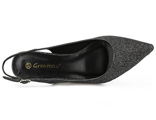 Greatonu Dos Espigones 36 EU et Boucles pour 41 Le des Noir B Talon Sangles Classics sur Les avec à Chaussures Femmes des wOrIWOq