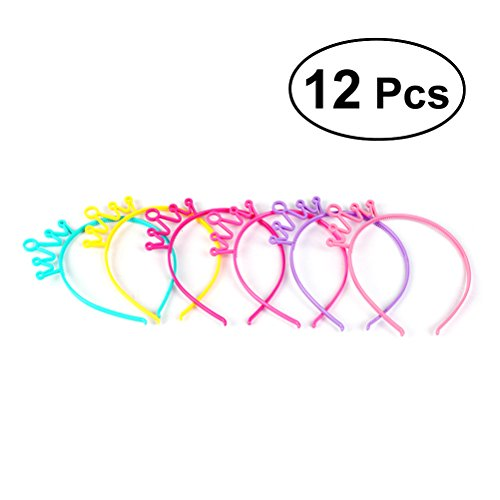 Frcolor Plastic Crown Headbands Candy Color Party Costume Tiara Hairbands for Kids and Girls, 12pcs ()