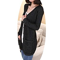 Molif Wool Sweater Medium Long Cashmere Cardigan Women Loose Sweater Outerwear Coat With Pockets Dark Grey S