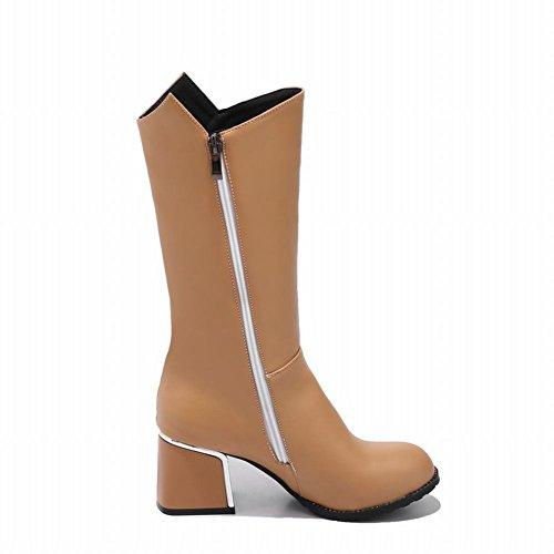 Charm Foot Womens Western Chunky High Heel Zipper Mid Calf Boots Apricot KqpxaK