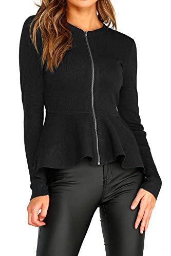 Open Ruffle Up Patchwork Outwear Womens Zip Nero Giacche Front Felpa wqfnOfaAt
