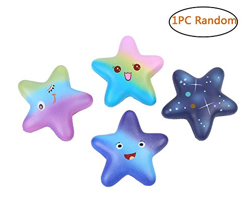 Aolige Squishies Slow Rising Jumbo Kawaii Cute 4 Colors of the Five-Pointed Star Creamy Scent for Kids Party Toys Stress Reliever Toy,1 PC Random (Reliever Stress Star)