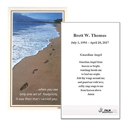 Set of 50 Custom Funeral - Memorial - Mass Cards (Footprints in the Sand)