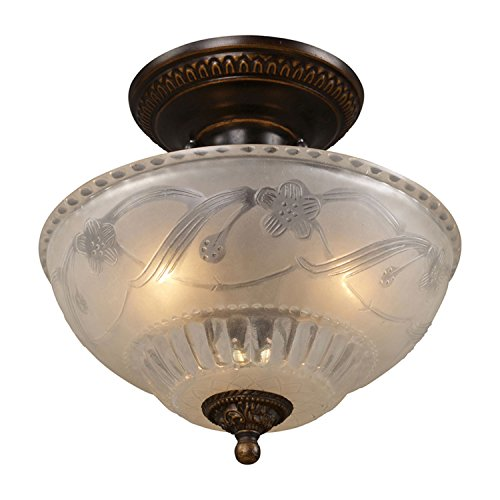 ELK Lighting Aged Bronze 3-Light Semi-Flush Mount Light 08098-AGB-LA