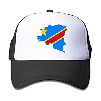 QZJKW Fashion Flag Map Of Democratic Republic Of The Congo Children Kids Nylon Adjustable Snapback Flatbrim Cap One Size Fits Most