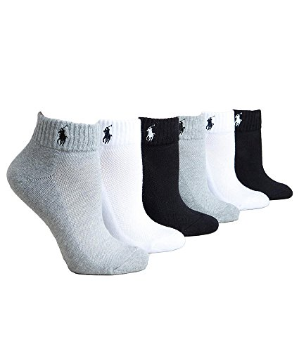 Ralph Lauren Ankle Sport Socks 6-Pack, One Size, Black / White / - Women Sport For Lauren Ralph