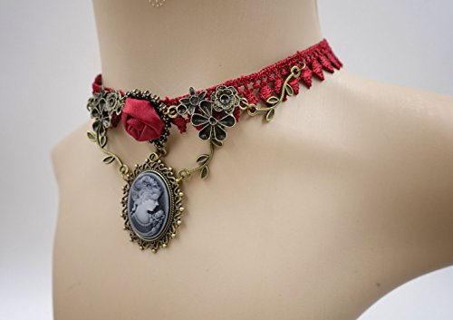 Eternity J. Vintage Rhinestone Rose Lace Gothic Choker Victorian Wedding Bridal Necklace Bracelet 4