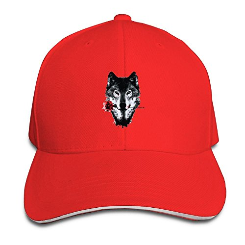 Mokjeiij Awesome Wolf and Rose Black Baseball Cap, Adjustable Spire Trucker Cap.