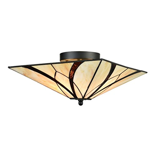 EUL Tiffany Style Mission Semi Flush Ceiling Light Antique Brass and Art Colorful Glass Shade 3 Lights (Fixture Mission Ceiling Semi Flush)