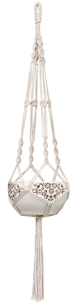 Mkono Macrame Plant Hangers Indoor Outdoor Hanging Planter Basket Cotton Rope 4 Legs 41 Inch