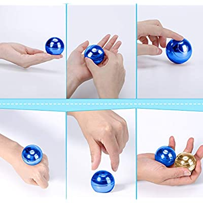 CaLeQi Kinetic Desk Toy Office Metal Spinner Ball Gyroscope with Optical Illusion for Adults Anti Anxiety Relieve Stress Inspire Inner Creativity … (Blue): Toys & Games