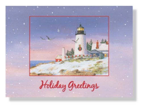 Designer Greetings Red Farm Studio - Boxed Christmas Cards Nautical/Coastal Design; Winter Scene of a Lighthouse