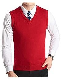 FULIER Winter Mens Gilet V-Neck Sleeveless Vest Business Gentleman Knitwear Tank Tops