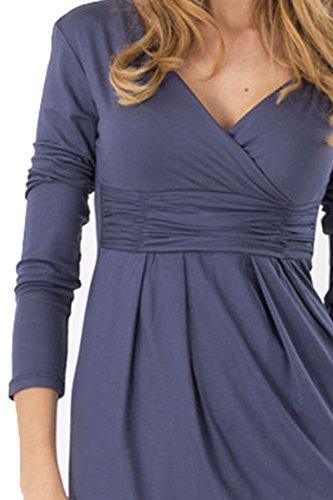 Azbro Stylish Solid Overlapping V Neck Long Sleeve Knee Length Dress Red