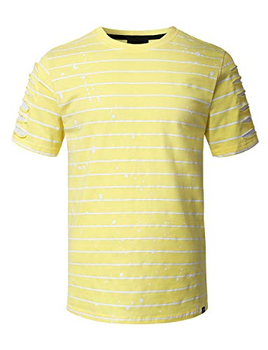 - URBANCREWS Mens Hipster Hip Hop Splatter Striped T-Shirt LTYELLOW XLarge