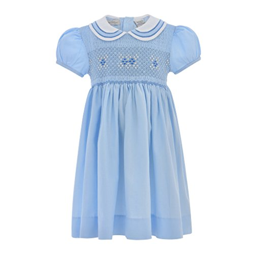 Baby Girl Classic Short Sleeve Dress - Pastel Blue, 6Y