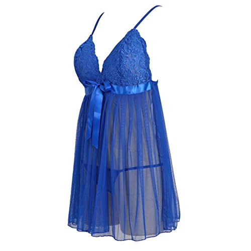 Grebrafan Women's Sexy Lingerie Lace Sleepwear Babydoll V-String Miniskirt (US(6-8) M, - Lingeries Sexy Set