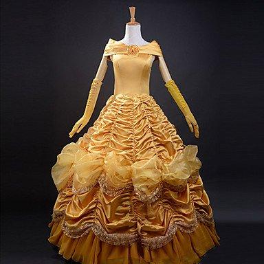 Luy Beauty and the Beast Belle Princess Golden Satin Evening Gown Dress Women's Halloween Costume