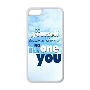 Hardshell Strong Protective Creative Theme Be yourself and believe in yourself in the world Protective Cover Case for Iphone 5C TPU Case-4