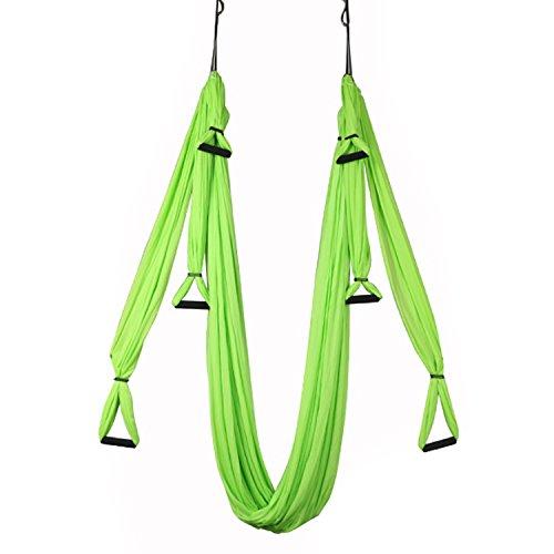 Yoga Hammock Aerial Swing Ultra Strong Anti-gravity Air Flying Yoga Inversion Swing Trapeze Sling Belt Elastic Fitness Swing Hammock with Carabiner & Handle (Green)