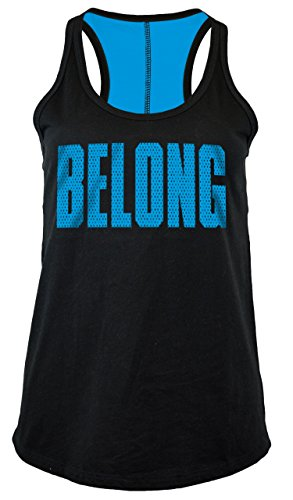 NFL Carolina Panthers Women's Jersey Racer Back Tank Top with Contrasting Colors