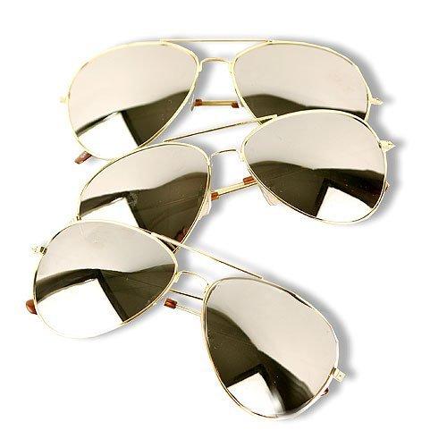Classic Mirrored Aviator Sunglasses Gold Color Trim