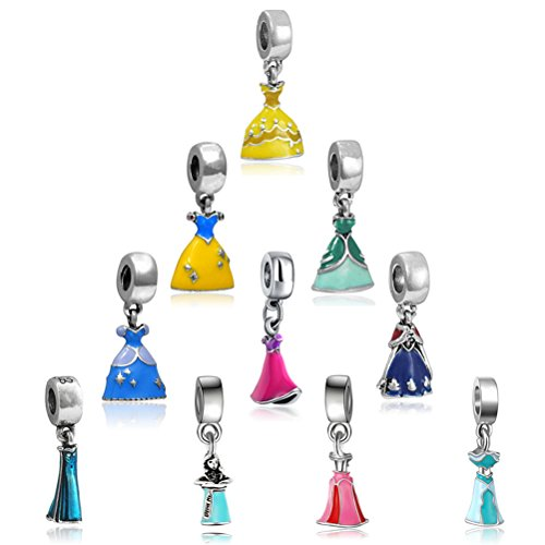 JUNKE 10-Pack Assorted Princess Dress Shape Style Enamel Charm Pendant Alloy Dangle Bead Charms for Bracelet and DIY Jewelry Making
