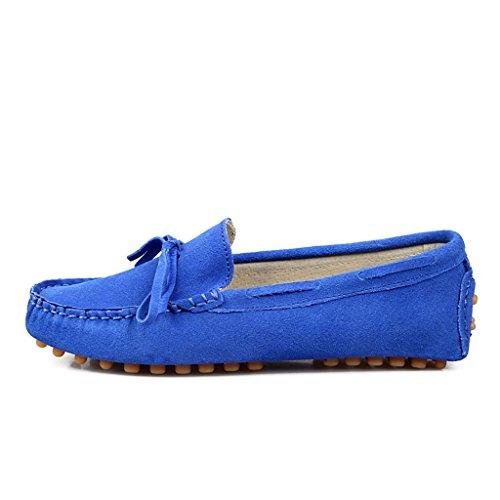 Minitoo Womens Fashion Knoten Wildleder Mokassins Slipper Boat Arbeit Freizeit Schuhe Blau