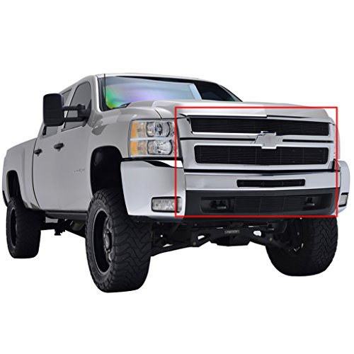 EAG 07-10 Chevy Silverado HD Upper+Center+Bumper Billet Grille Aluminum Black