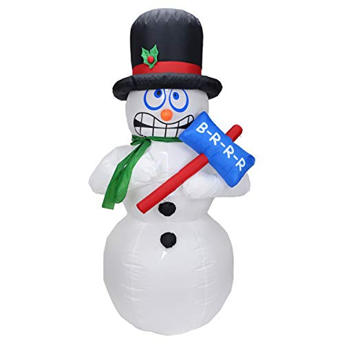 Christmas Masters 6 Foot Inflatable Shivering Snowman with Top Hat and Scarf LED Lights Indoor Outdoor Yard Lawn Decoration - Shaking Cold Face, BRRR Sign - Cute Fun Xmas Holiday Blow Up Party Display