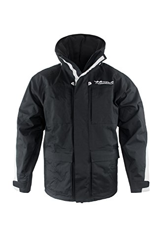 WindRider Pro Rain Jacket | Foul Weather Gear for Men | Sailing, Fishing | 7 Pockets | Rollaway Hood | Fleece Collar | Breathable Black/Silver