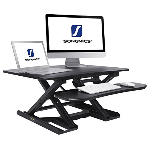 "SONGMICS Standing Desk Converter Height Adjustable Sit to Stand fits Dual Monitor, Angle and Height adjustable Keyboard Tray, 31.5""L x 24.5""W Black ULSD08B by SONGMICS"