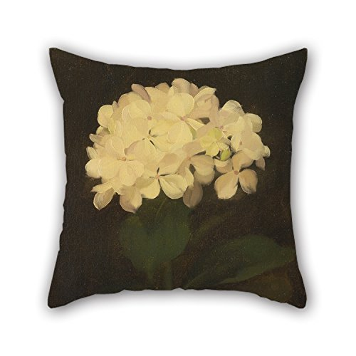 Artsdesigningshop The Oil Painting Stuart Park - White Hydrangea Pillowcover of 16 X 16 Inches / 40 by 40 cm Decoration Gift for Sofa Dining Room Gril Friend Bar Kitchen Wife (Each Side)