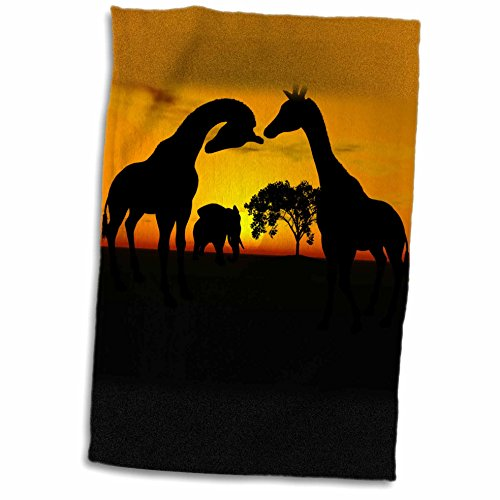3dRose Renderly Yours Wild Animals - African Safari Silhouette of Giraffes and Elephant - 12x18 Towel (twl_124346_1)
