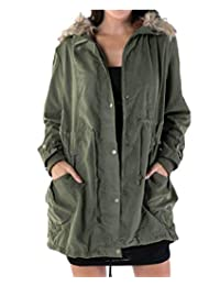 Womens Military Hooded Warm Winter Thick Jacket with Faux Fur Lined