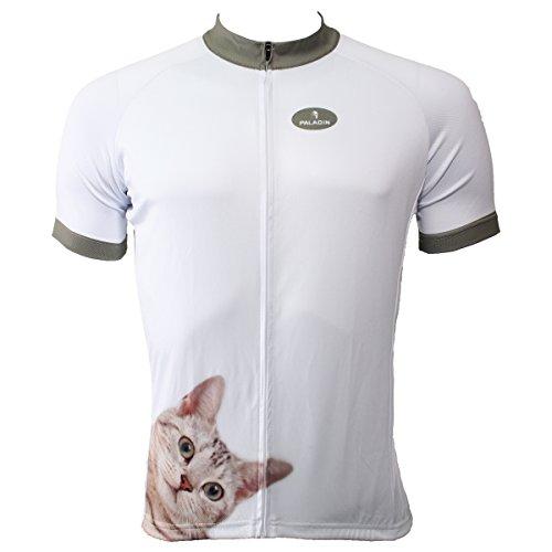 Paladin Cycling Jersey for Men Short Sleeve Cat Pattern White Bike Shirt