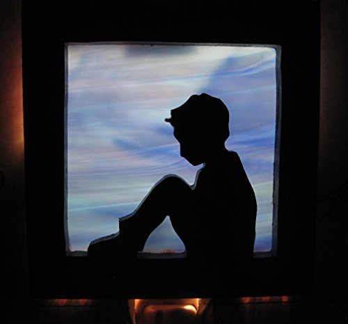 Stain glass night light Little boy blue silhouette Handmade in the - Silhouette Glasses Kids
