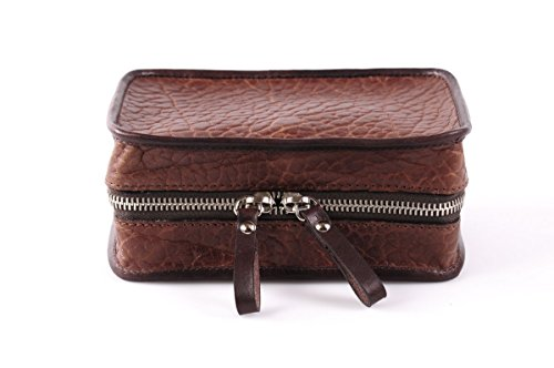 Handmade Buffalo Leather Carryall Tech Kit - Walnut by Borlino