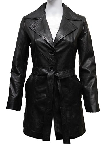 Womens Leather Jacket Long Real Blazer Lamb Skin Coat Vintage Retro Design (Small ()