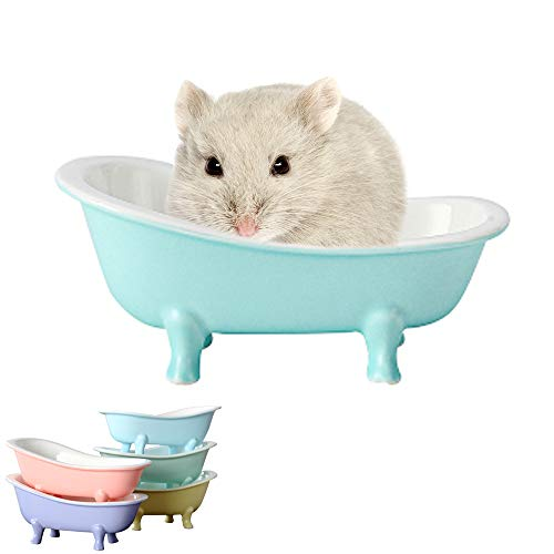 HenryDong Summer Cool Small Animal Hamster Bed, Ice Bathtub Accessories Cage Toys, Ceramic Relax Habitat House, Sleep Pad Nest for Hamster, Food Bowl for Guinea Pigs/Squirrel/Chinchilla/Ferret Rat