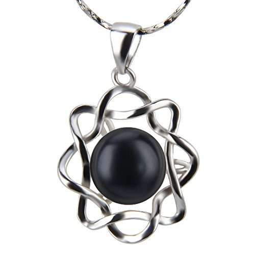 18K Silver Plated Freshwater Round Cultured Pearl Pendant (Dyed - Black Pearl Novelty
