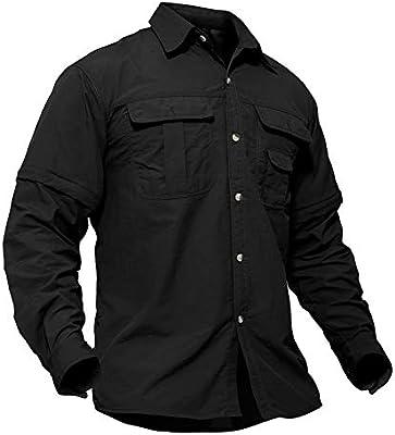 Tacvasen - Camisa militar para hombre, de secado rápido, protección UV, con mangas separables, Hombre, Shirt-47-Black-S, Negro , small: Amazon.es: Deportes y aire libre