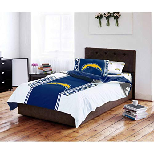 4pc NFL San Diego Chargers Comforter Twin Set, Fan Merchandise, Team Spirit, Blue, Sports Patterned Bedding, Unisex, National Football League, Team Logo, Football Themed, ()