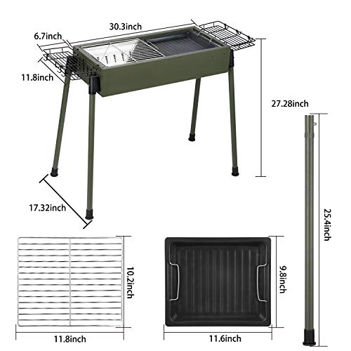 Uten Barbecue Charcoal Grill Stainless Steel, Portable BBQ Grill for Outdoor Cooking Camping Picnics - Green [Upgraded]