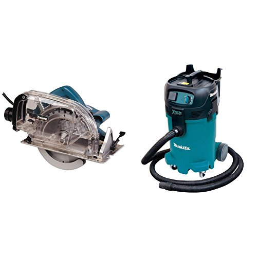 Makita 5057KB 7-1/4 inch Circular Saw, with Dust Collector & VC4710 12 Gallon Xtract Vac Wet/Dry Dust Extractor/Vacuum
